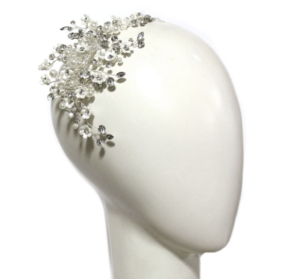 Ti Adoro Floral and Pearl Headpiece - via kleinfeldbridal.com