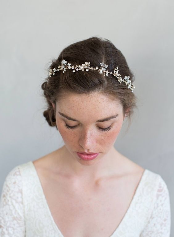 simple crystal and rose blossom hair vine - via twigsandhoney.com