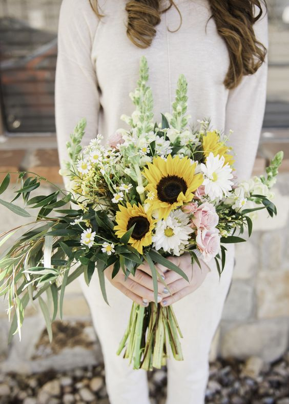 Sunflower Wedding Bouquet - via marthastewartweddings.com
