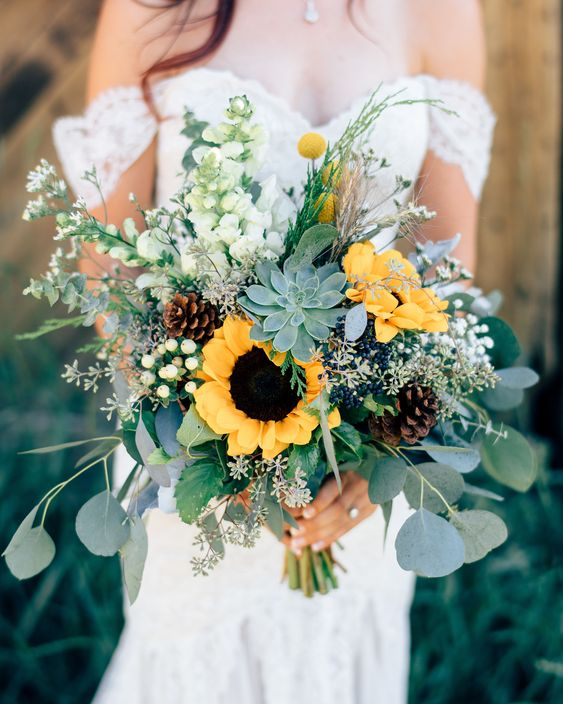 Sunflower Succulent Wedding Bouquet - via marthastewartweddings.com
