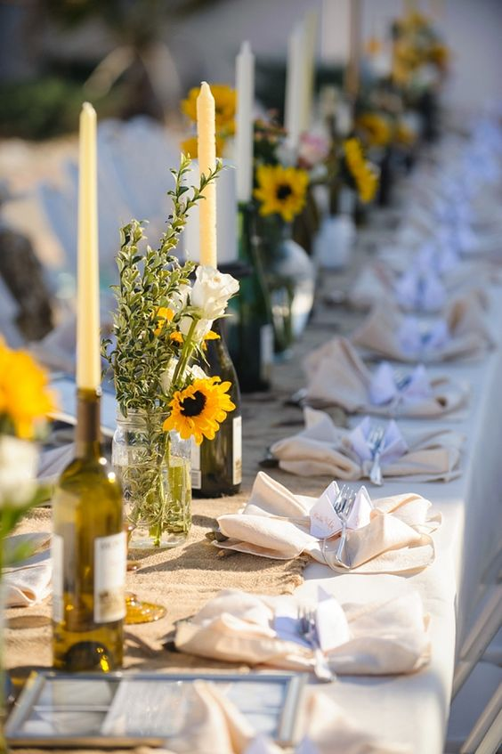 Sunflower Wedding Centerpiece - via tidewaterandtulle.com