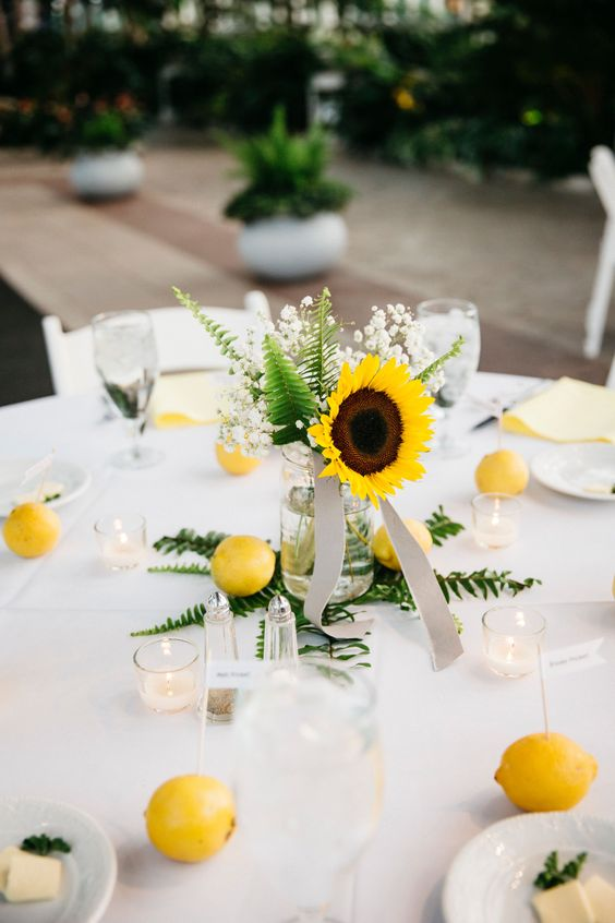 Sunflower Wedding Centerpiece - via theknot.com