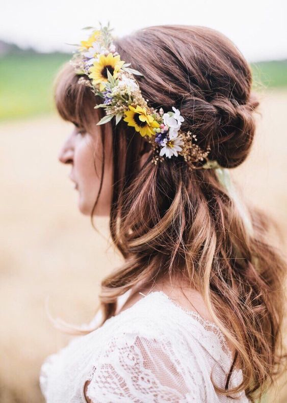 Sunflower Bridal Crown by Boho Halo Company via etsy.com