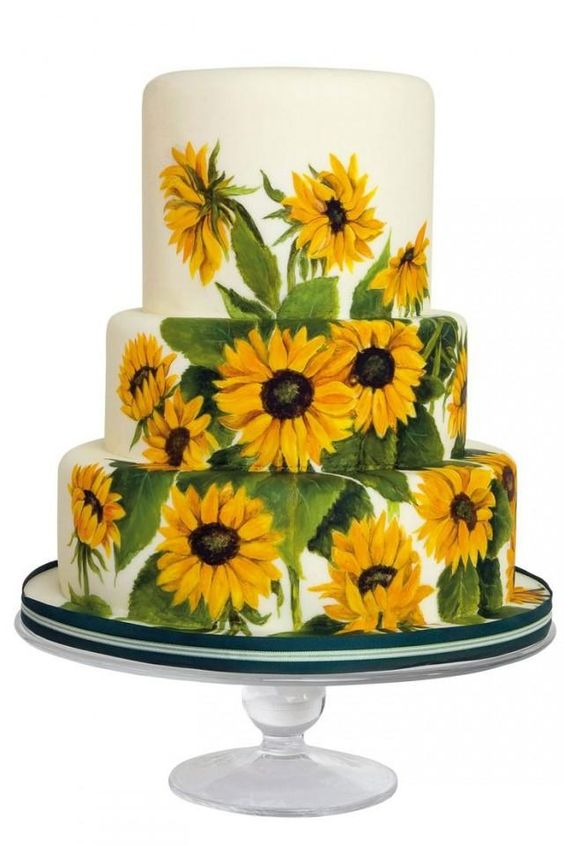 Painted Sunflower Wedding Cake - via weddbook.com