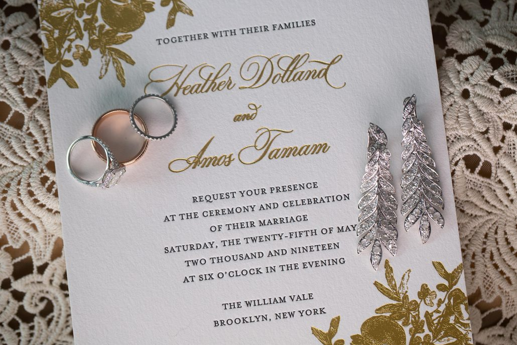 Heather & Amos Wedding - Invitation Earrings Rings - William Vale - Jovon Photography