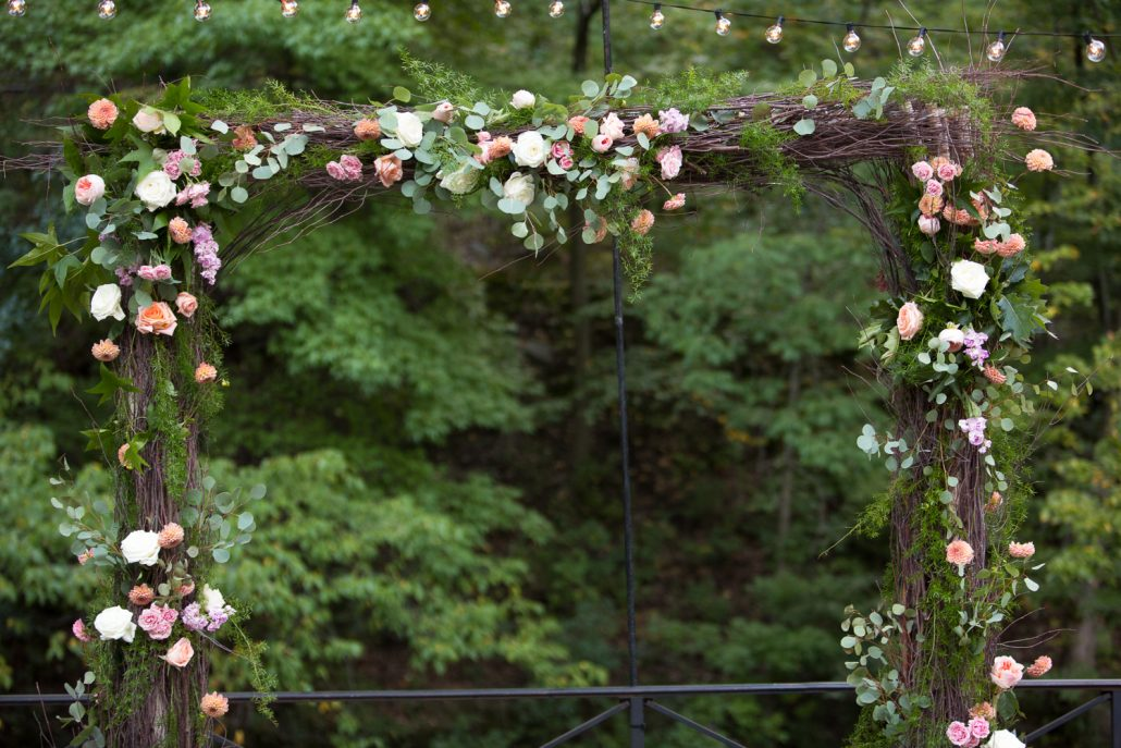 Kat and Ryan Wedding - Floral Archway - Stone Mill New York Botanical Garden - Laurie Rhodes