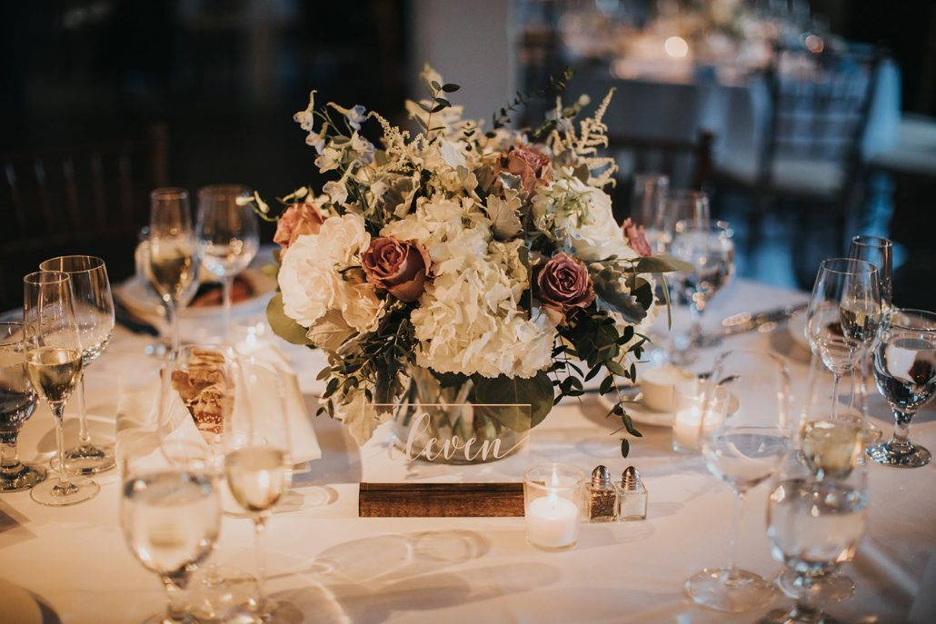 Kelsey and Matt Wedding - Low Centerpiece - Stone Mill New York Botanical Garden - Hitches and Unions