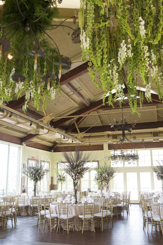 Yani & Divinity Wedding - Reception Floral Installation High Centerpiece - Liberty House - Studio A Images