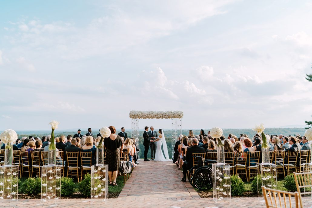 Lauren & Lou Wedding - Bride Groom Ceremony Chuppah - Natirar - Pat Furey Photography