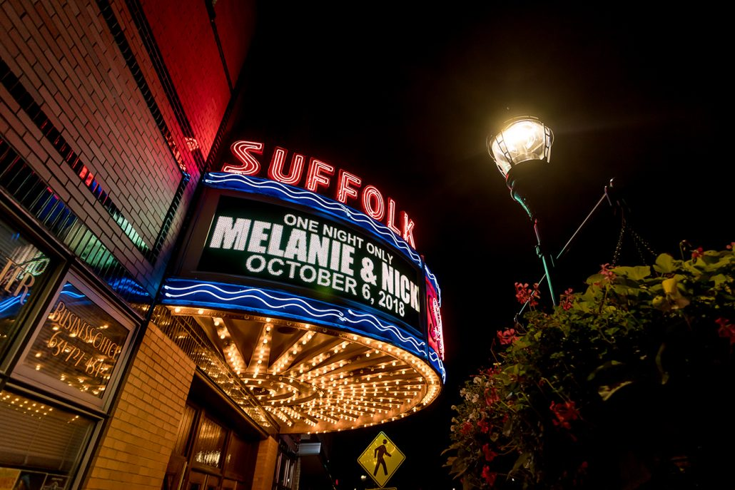 Melanie & Nick Wedding - Bride and Groom Marquee - Suffolk Theater - Sean Gallery Photography