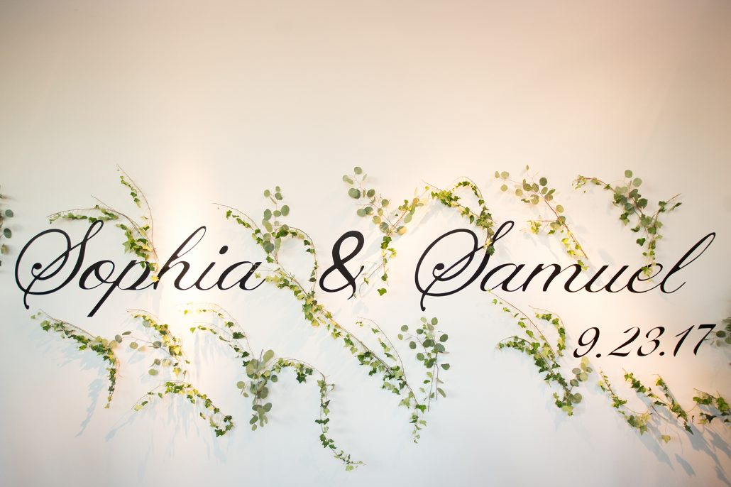 Sophia & Sam Wedding - Bride and Groom Sign with Greenery - Tribeca 360 NYC - by Shira Weinberger