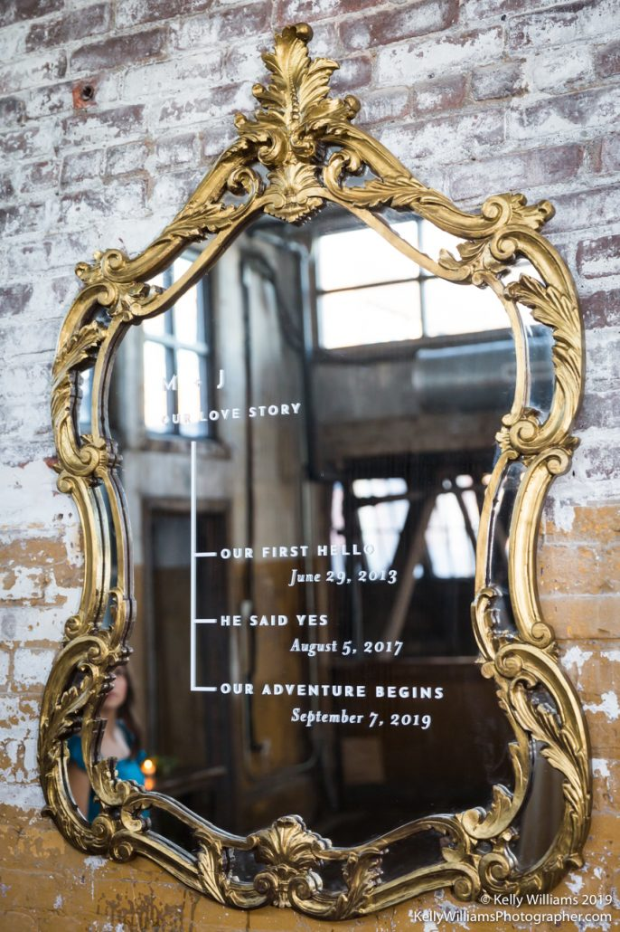 Max and John Wedding - Love Story Mirror Sign - Greenpoint Loft - Kelly Williams