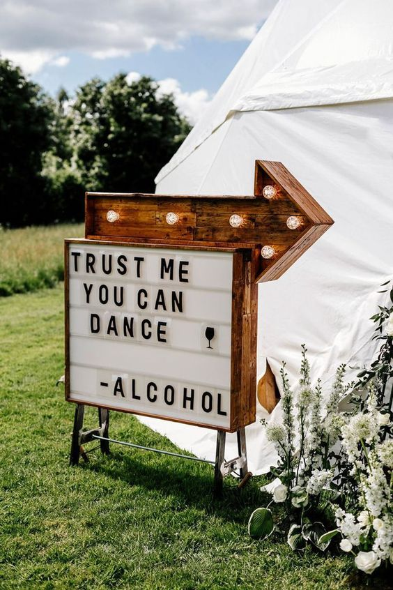 Funny Marquee Wedding Sign - via hitched.co.uk