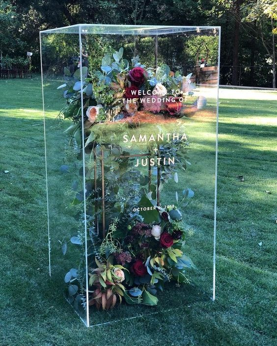 Flower Terrarium Wedding Welcome Sign - via pinterest.com