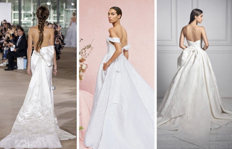 Ines Di Santo, Carolina Herrera, Anne Barge - Statement Bows - Bridal Fall 2020