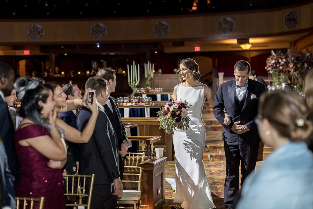 Melanie & Nick Wedding - Bride and Father Walking Down Aisle - Suffolk Theater - Sean Gallery Photography
