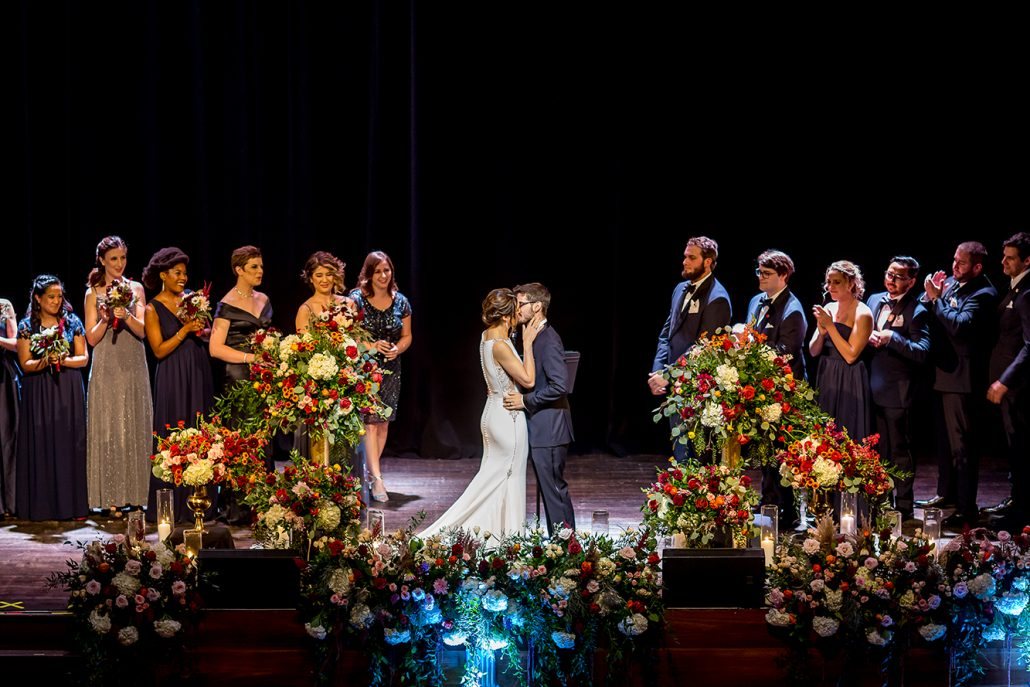 Melanie & Nick Wedding - Bride and Groom First Kiss - Suffolk Theater - Sean Gallery Photography