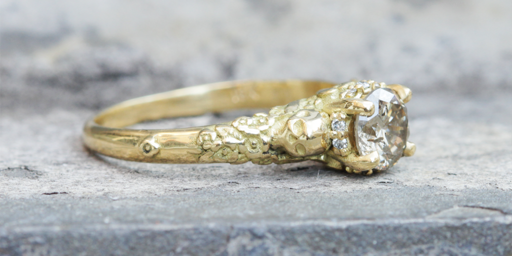 Skull And Flower Halo Ring - Til Death Do Us Part Wedding Jewelry - image courtesy of Fitzgerald Jewelry