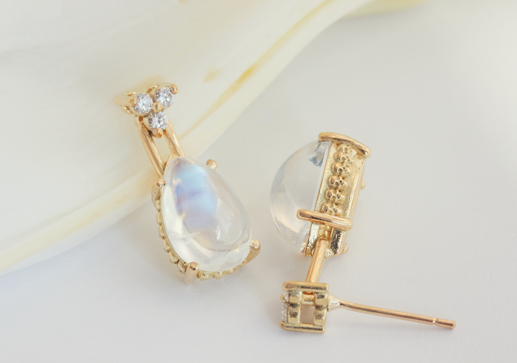 Moonstone Skull Tear-Drop Earrings - Till Death Do Us Part Wedding Jewelry - image courtesy of Fitzgerald Jewelry