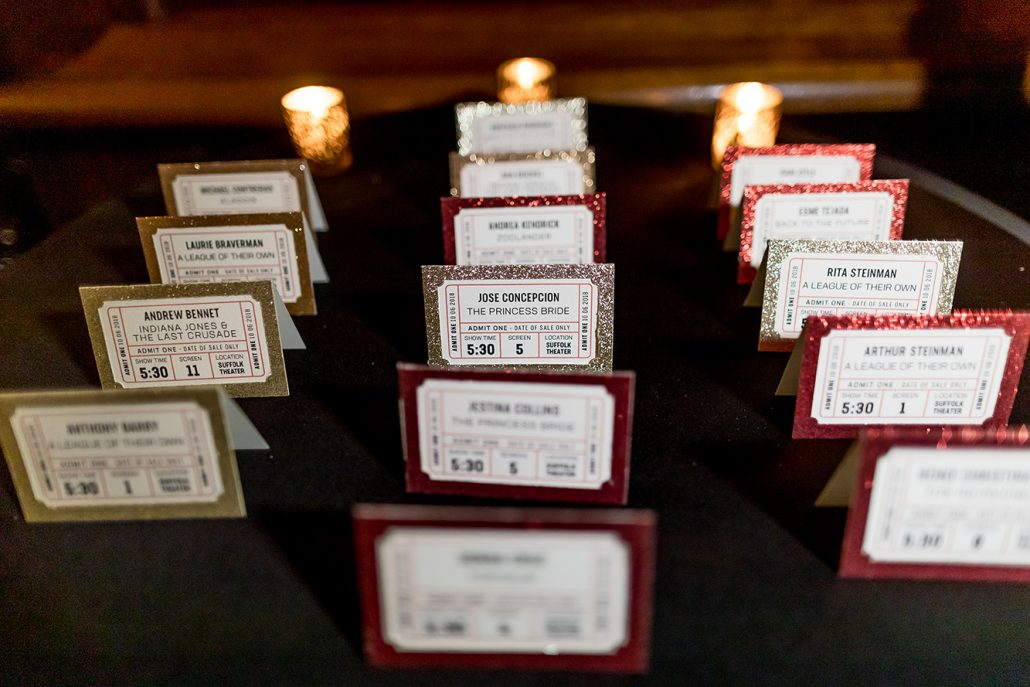 Melanie & Nick Wedding - Guest Name Cards - Suffolk Theater - Sean Gallery Photography