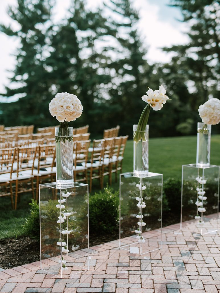 Lauren & Lou Wedding - Aisle Arrangements - Natirar - Pat Furey Photography