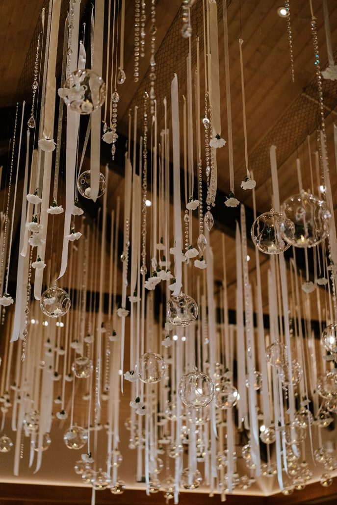 Lauren & Lou Wedding - Suspended Floral Installation Detail - Natirar - Pat Furey Photography