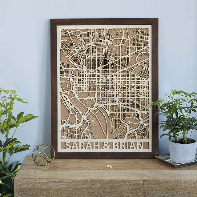 Personalized Woodcut City Map - via uncommongoods.com