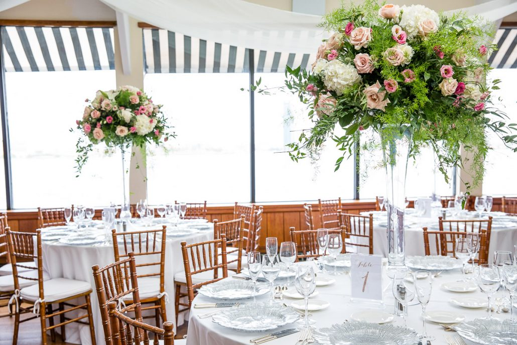 Mia & Joe Wedding - High Centerpiece - The Water Club - by Jessica Corapi Photography
