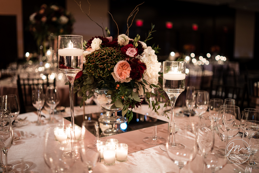 Tracey and Alex Wedding - Low Centerpiece - Mandarin Oriental - Josh Wong Photography