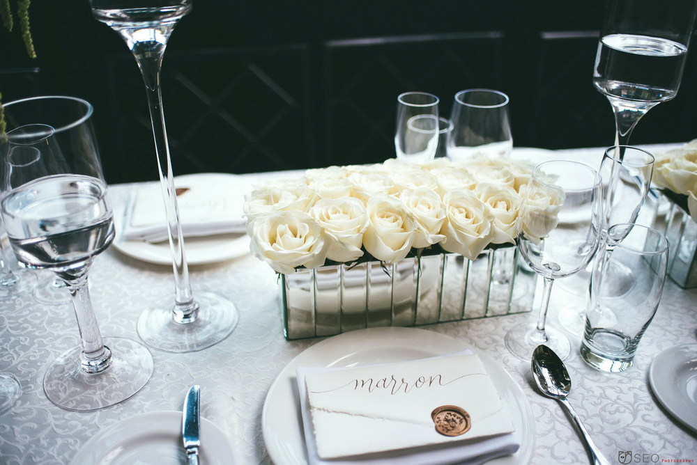 Sarah and Adam Wedding - Low Centerpiece - Gramercy Park Hotel - Dan Seo Photography