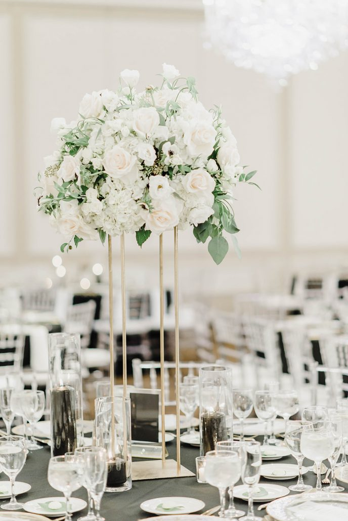 Victoria and Doug Wedding - The Rockleigh - High Centerpiece - Molly Sue Photography