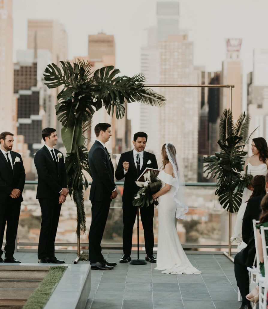 Paige and Justin Wedding - Bride Groom Tropical Foliage Arch - The Press Lounge - Cheyanna De Nicola Photography