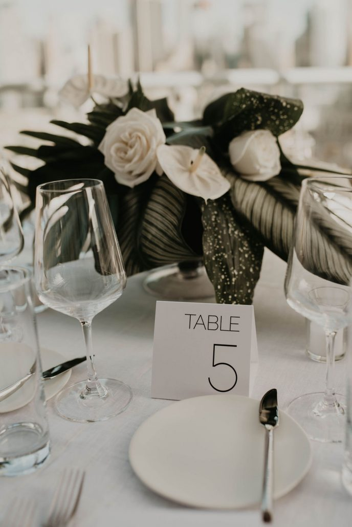 Paige and Justin Wedding - Low Centerpiece Table Number - The Press Lounge - Cheyanna De Nicola Photography