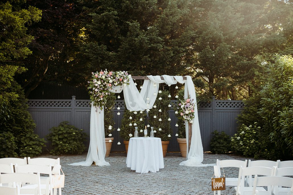 Lauren and Tom Wedding - Flower Chiffon Arch - New York Botanical Garden - Samm Blake