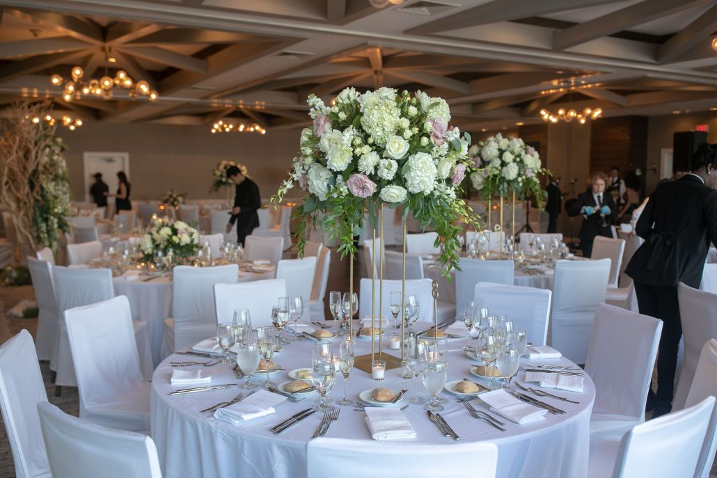 Randi & Bryan Wedding - High Centerpiece - Gurneys Montauk - JoVon Photography