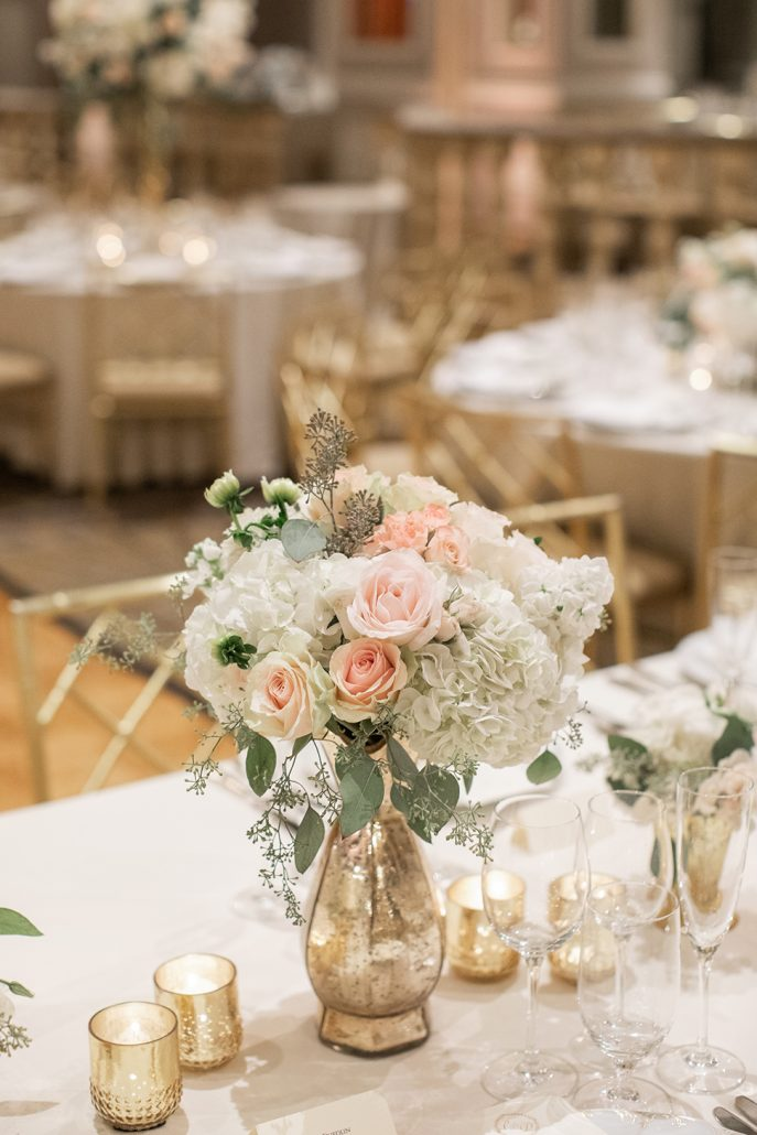 Caitlin & Dave Wedding - Low Centerpiece - Pierre Hotel - Kelsey Combe Photography