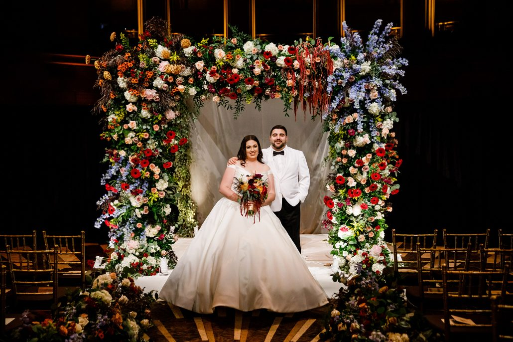 Stefanie and Mike Wedding - Bride and Groom Bouquet Chuppah - Gotham Hall - Emma Cleary Photography