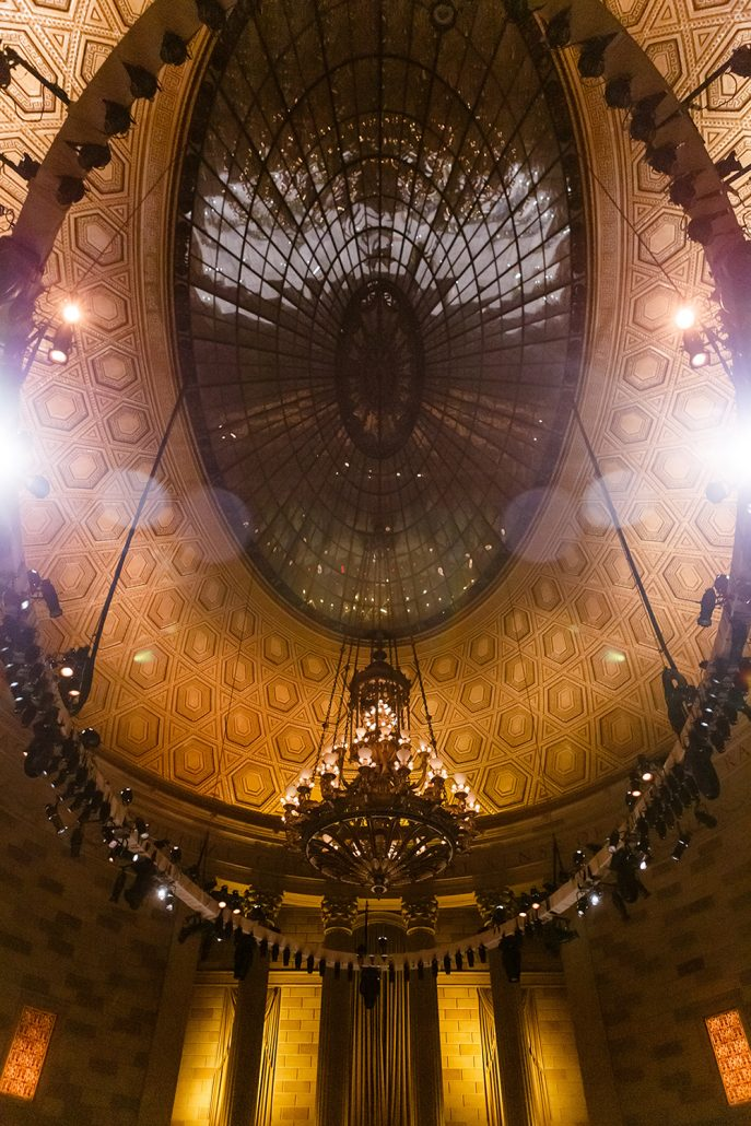 Stefanie and Mike Wedding - Gotham Hall Dome Ceiling - Gotham Hall - Emma Clearly Photography
