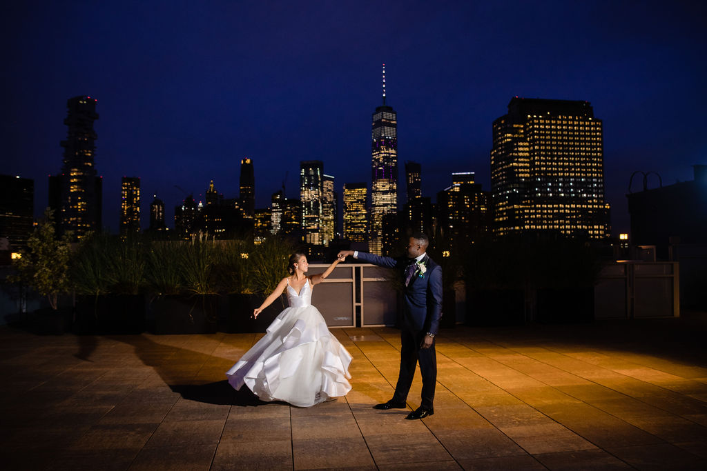 Rebecca and Nelson Wedding - Bride Groom Dancing - Tribeca Rooftop - Jason Thomas Crocker Photography