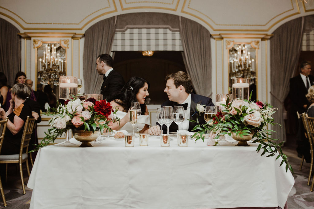 Francesca and Michael Wedding - Bride and Groom Sweetheart Table - St. Regis - Aaron & Whitney Photography