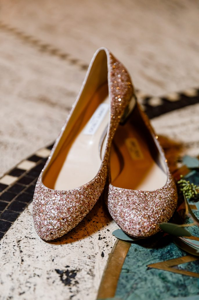 Stefanie and Mike Wedding - Brides Shoes - Gotham Hall - Emma Cleary Photography