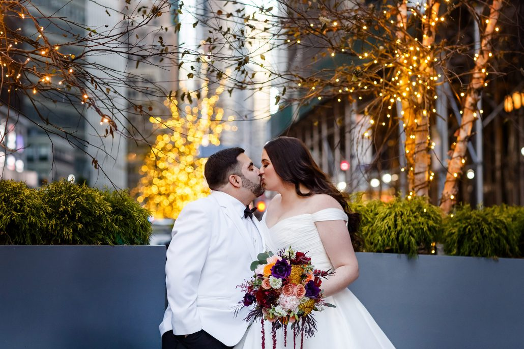 Stefanie and Mike Wedding - Bride and Groom Brides Bouquet - Gotham Hall - Emma Cleary Photography