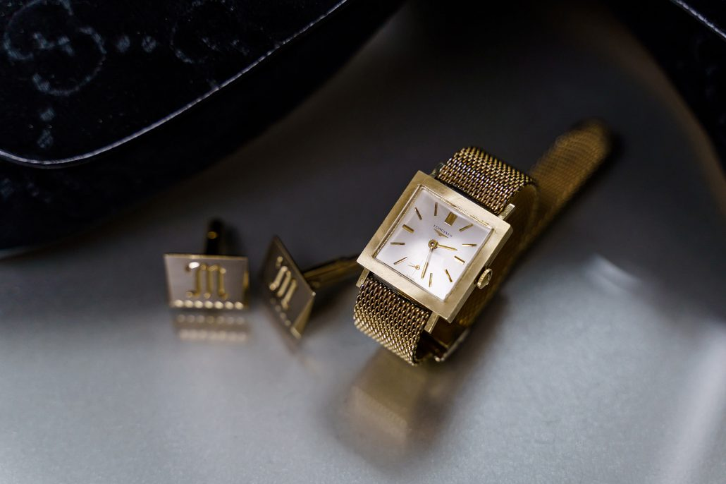 Stefanie and Mike Wedding - Grooms Cufflinks and Watch - Gotham Hall - Emma Cleary Photography