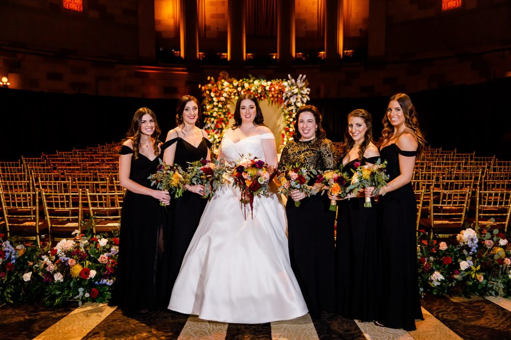 Stefanie and Mike Wedding - Bride Bridesmaids Bouquet - Gotham Hall - Emma Cleary Photography