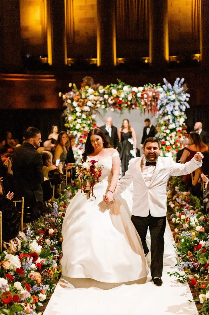 Stefanie and Mike Wedding - Bride and Groom Chuppah Bouquet - Gotham Hall - Emma Cleary Photography