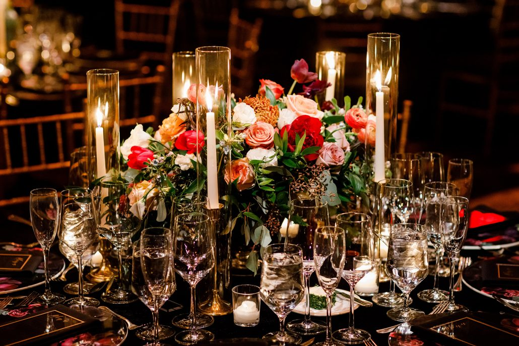 Stefanie and Mike Wedding - Low Centerpiece - Gotham Hall - Emma Cleary Photography