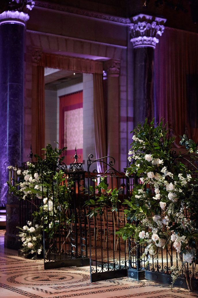 Laura and Charlie Wedding - Ceremony Gate Greenery and Flowers - Cipriani - Christian Oth Studio