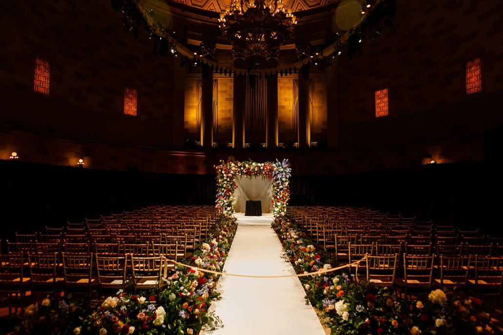 Stefanie and Mike Wedding - Chuppah Ceremony Aisle - Gotham Hall - Emma Cleary Photography