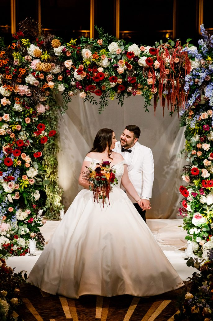 Stephanie and Mike Wedding - Bride and Groom Bouquet Chuppah - Gotham Hall - Emma Cleary Photography