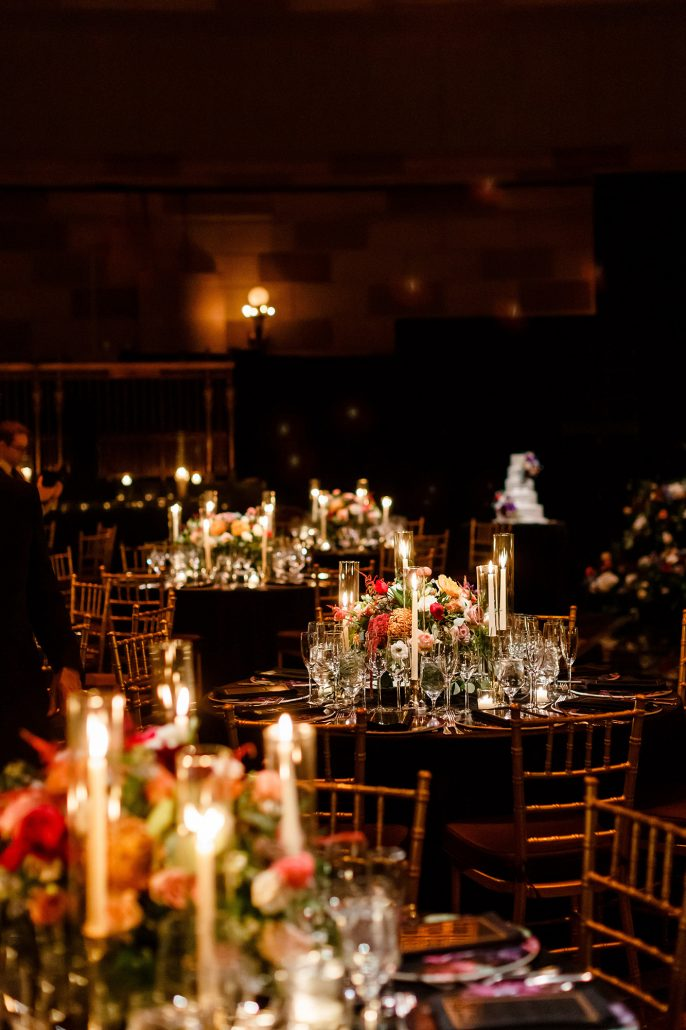 Stefanie and Mike Wedding - low centerpiece tablescape - Gotham Hall - Emma Cleary Photography